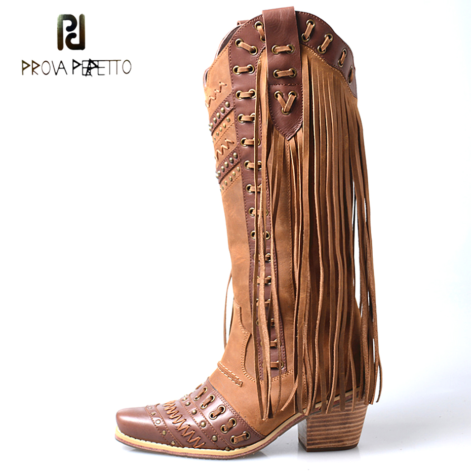 Prova Perfetto high quality handmade chunky heel cow leather cowboy knee high boot mixed color fringe