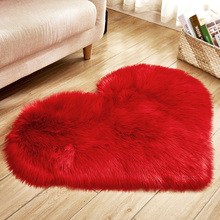 Love Heart Rugs Artificial Wool Sheepskin long Hairy Carpet Bedroom Living Room Faux Fur Carpet Floor Mat Soft Fluffy Area Rug