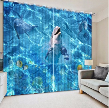 2017 New 3D Curtain dolphin Design Photo Curtains For Living room Bedroom ocean world Boy's Curtains