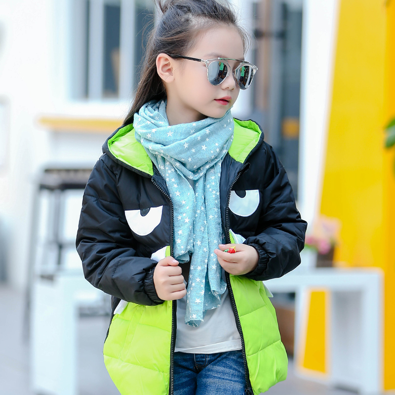 ФОТО 2016 New Winter Jacket For Girls Coat Devil Mosaic Cartoon Monster Baby Hooded Unisex White Duck Down Kids Winter Coat
