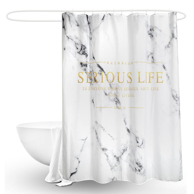 LIANGQI Marble style bathroom polyester shower curtain Nordic Thicken High quality Waterproof Hanging curtain Home Decoration in Shower Curtains from Home Garden