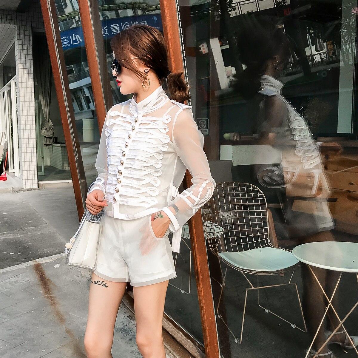 Printemps Bouton Veste De Base Femmes Femelle Transparent blanc Manteau Manteaux Noir D'été Vestes Yuxinfeng Mode Noir Maille Blanc Manches 1F3TlJcuK