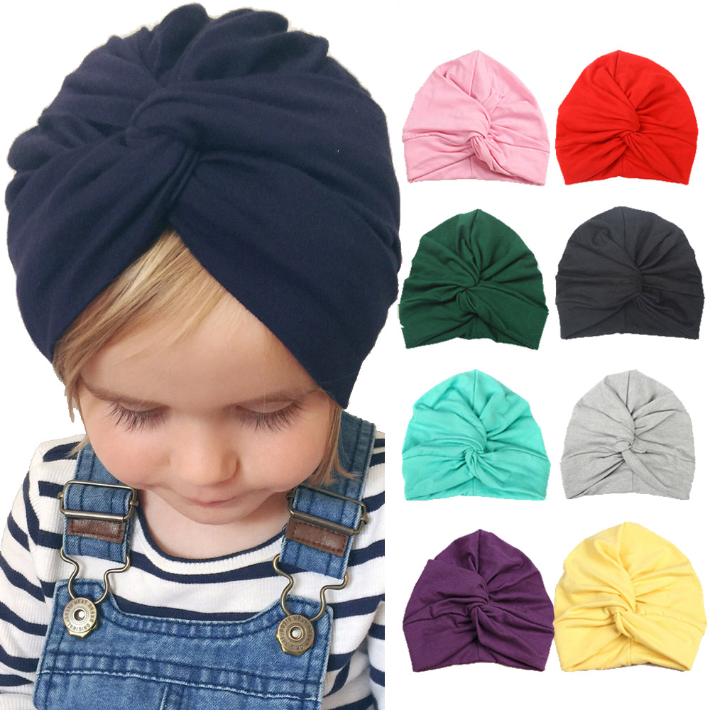 Cute Baby Top Knot Hat Cotton Soft Turban Twisted Knot Summer Hat Bohemian Style  Children Kids Newborn Cap For Baby Girls