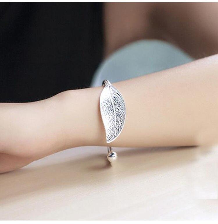 SMJEL Fashion Trendy Open Leaf Cuff Bracelet Bangles for Women Simple Plant Bracelet Femme Boho Jewelry Birthday Gift SYSZ014 10
