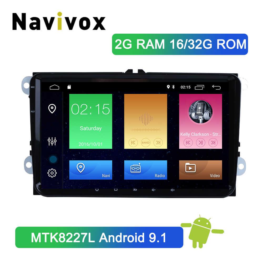 Navivox 2 din android 9.1 reprodutor de multimídia carro para volkswagen polo golf passat tiguan skoda yeti excelente carro rápido gps rádio dvd