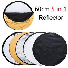 +Tracking Number ) 24″ 60cm 5 in 1 Portable Collapsible Light Round Photography Reflector for Studio Multi Photo Disc