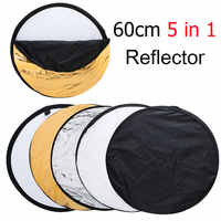 """+Tracking Number ) 24"""" 60cm 5 in 1 Portable Collapsible Light Round Photography Reflector for Studio Multi Photo Disc"""