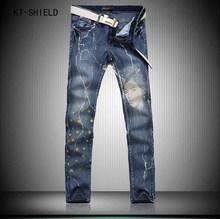 3D Printed Jeans Men Fashion Denim Mens Jeans New Famous Brand Elastic Skinny Jeans Casual Slim black painted straight pants