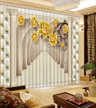 High quality custom 3d Curtains Blackout for Living Room Kids Bedroom Fabric white curtains