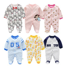 hot deal buy newborn 3-12m baby boys 2019 spring baby rompers soft baby boys romper warm cotton baby jumpsuit for kids boys costumes