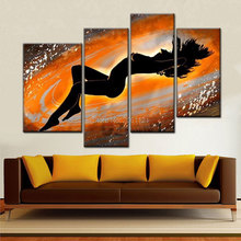 Hand Painted Nude Art Woman Body Painting yellow Canvas Set 4 Piece Decoration Home Modern Abstract Oil Wall Picture gift