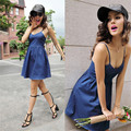 2016 New Women Summer Fashion Sexy V Neck Sleeveless Backless Back Cross Adjustable Strap Short Denim Dress