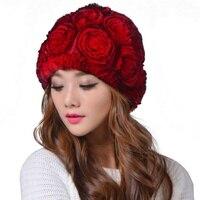 ارتفع زهرة قبعة الفرو الشتاء سماكة دافئ قبعة سوداء متعدد الألوان beanies قبعات القبعات النسائية للنساء
