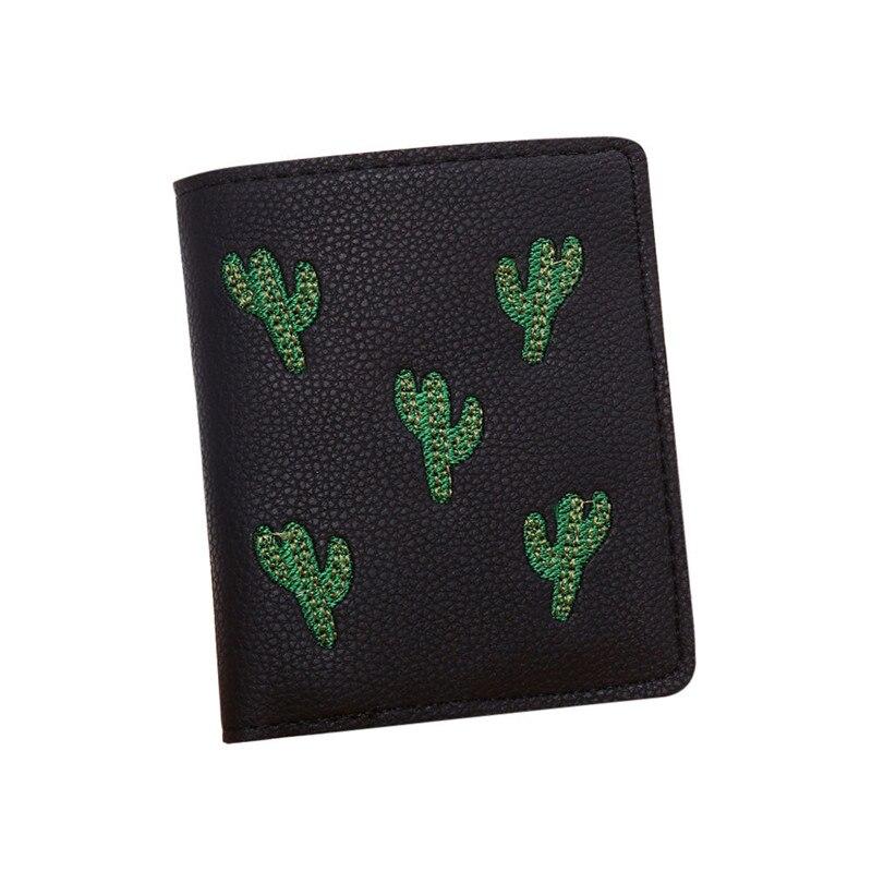 Для женщин Вышивка короткие мультфильм Кактус кошелек портмоне Держатели сумочка monedero billetera Mujer купить на AliExpress