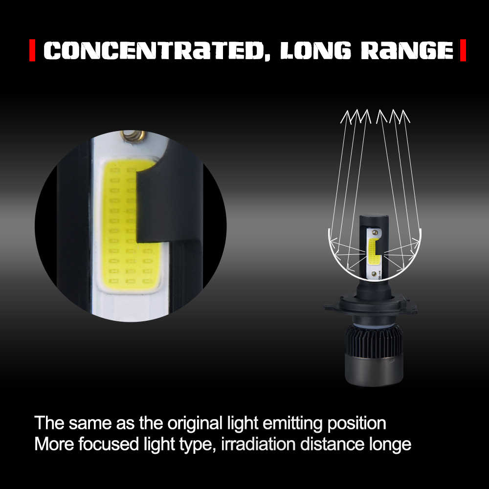MeeToo H4 LED Bulb Car Headlight H7 LED H1 H8 H11 HB3 HB4 9005 9006 IP65 72W 8000LM 6500K Ice Lamp 12V 24V Auto Headlamp Light