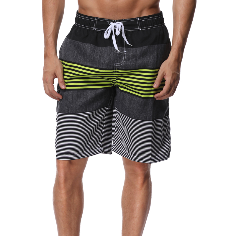 SHEKINI Men's   Board     Shorts   Swimwear Striped Swim   Shorts   Swimming Trunks with Mesh Lining