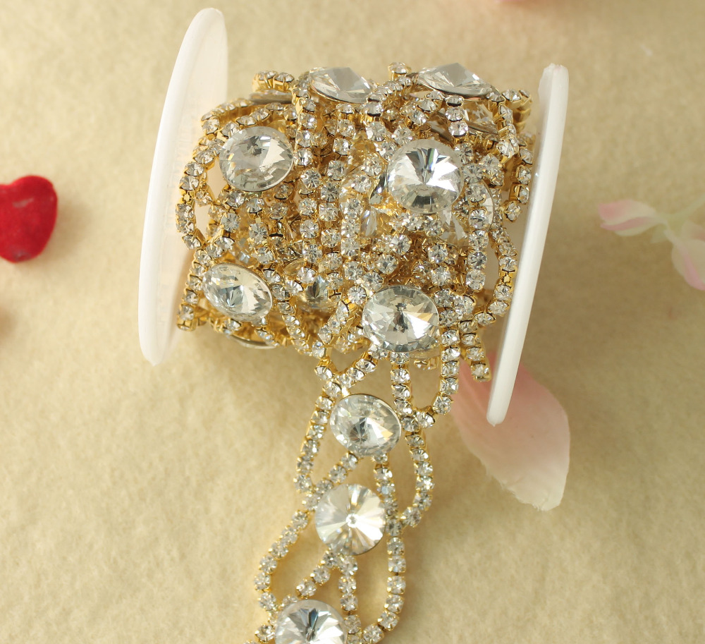 2f62e144f8 Aliexpress.com : Buy 1 Yard Stunning Clear Glass Rhinestone Trim Silver  Stone Chain Applique Bridal Dress Trim Decoration R2220 from Reliable ...