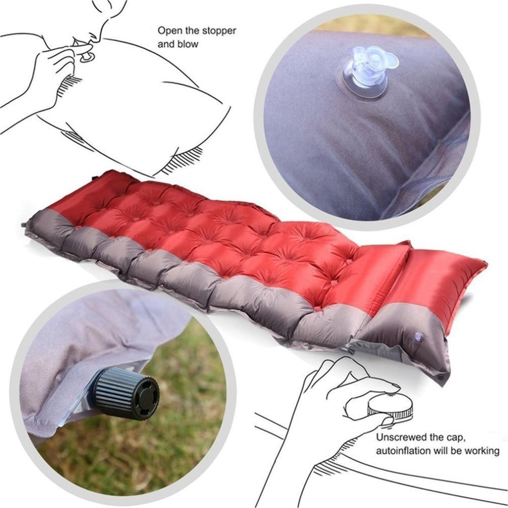 Nueva espesar autoinflable estera para dormir al aire libre Camping playa colchón inflable a prueba de humedad tela pongis colchón Pad tienda