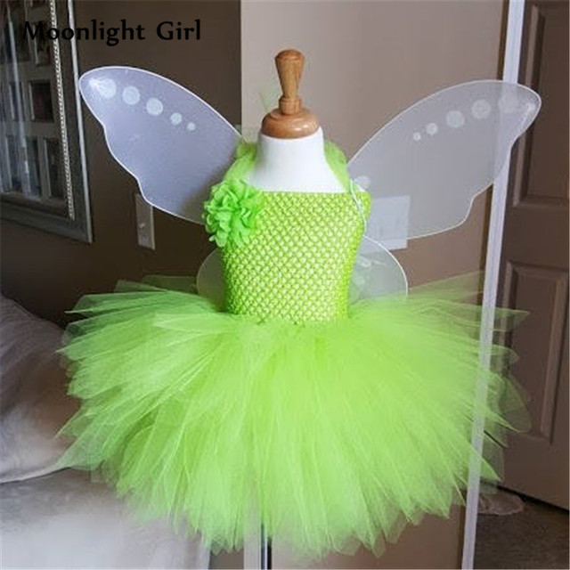 b790078ba07e0 Green Fairy Costumes Wings Flower Girl Tutu Dress Halloween Tinkerbell  Costume For Kids St. Patrick's Day Party Dresses PQ032
