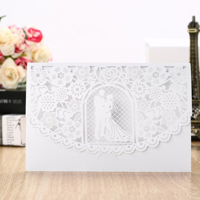 20pcs d056 foldable invitation card cover exquisite hollow out bride