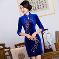 2016 Spring women dress embroidery cheongsam party dress silk velvet vestidos chinese dress chi-pao wedding Dress Size:S-3XL