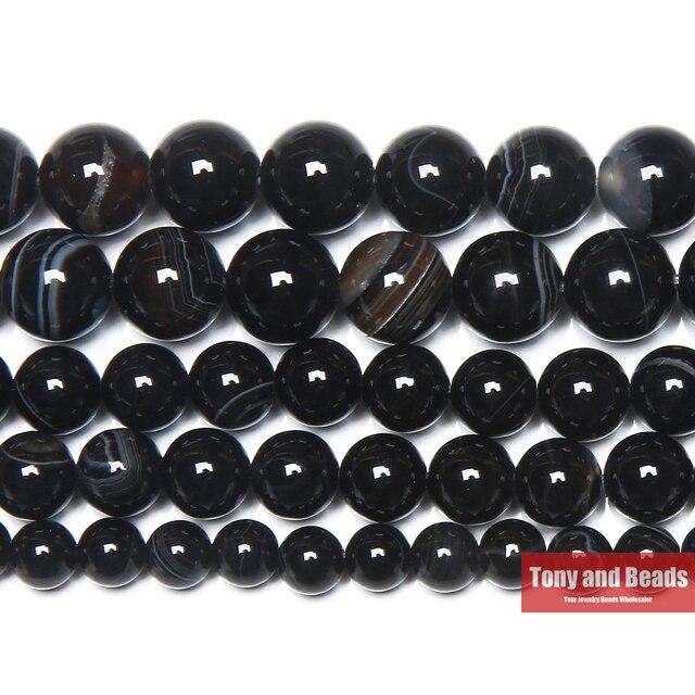 Darmowa wysyłka naturalny kamień czarny pasek Onyx agaty okrągłe luźne koraliki 4 6 8 10 12MM Pick rozmiar do tworzenia biżuterii