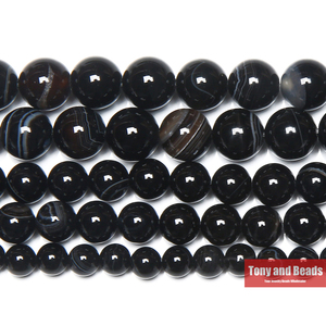 Free Shipping Natural Stone Black Stripe Onyx Agates Round Loose Beads 4 6 8 10 12MM Pick Size For Jewelry Making(China)