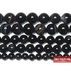 Free Shipping Natural Stone Black Stripe Onyx Agates Round Loose Beads Pick Size