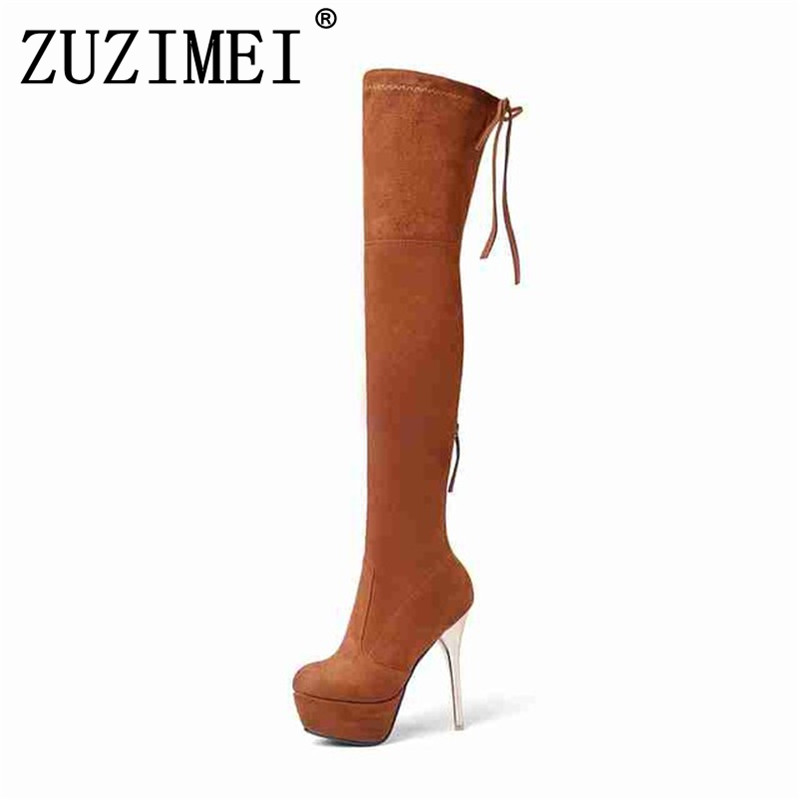 Big Size 34 43 2018 Shoes For Women Gold Thin Heels Thigh High Boots Black Women's Winter Kid Suede Boots Fashion Shoes