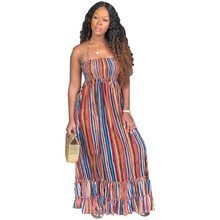 Colorful Striped Casual Maxi Dress Women Sexy Tunic Backless Sleeveless Halter Strapless Long Dress Elegant Sundress Vestidos(China)