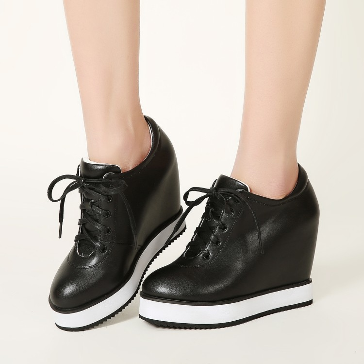 Genuino {zorssar} Tacones Las blanco Zapatos De Altura Mujeres Mujer Altos 2017 Cuero Cuñas Plataforma Negro Los Casuales Aumento rojo wnnPtx