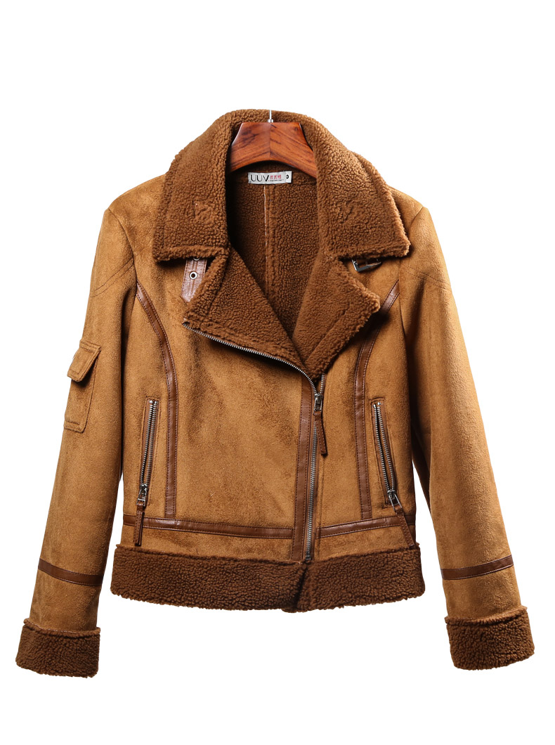 Faux Beige En brown Cuir Thikcer Mode Manteau De Fourrure Rue gray Veste White Style Lambwool Femelle Velours Daim Wq424 Col With brown Marque Chaud 0fUqExHwnx