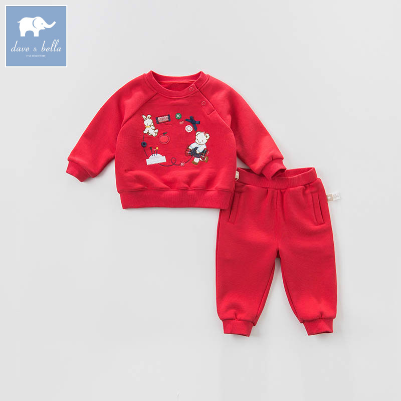 DB7637 dave bella spring baby boys red clothing sets toddler children suit high quality toddler outfits Clothing Suits db5073 dave bella spring baby boys sports clothing sets turn down collar shirt pants casual boys sets