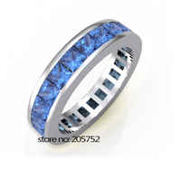 Wedding Ring Mens Rings 925 Silver Blue Created Ring Blue