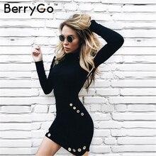 Women Sleek Sexy Long Sleeve Elegant Short Black Dress