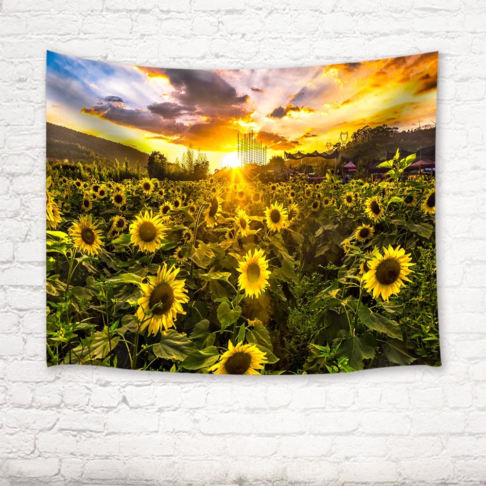 Sunflower Field Unser Sunsetting Background Tapestry Wall Hanging 71 ...