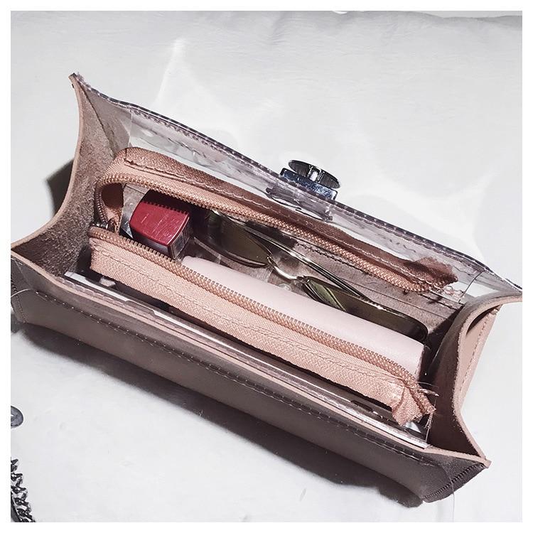 18 Summer Fashion New Handbag High quality PVC Transparent Women bag Sweet Printed Letter Square Phone bag Chain Shoulder bag 24