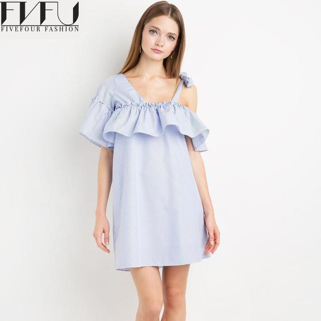 166667423c04 Fashion 2018 Summer Dress Women Girls Blue And White Striped Shirt Dress  Casual Loose Off Shoulder Ruffle Dress Plus Size