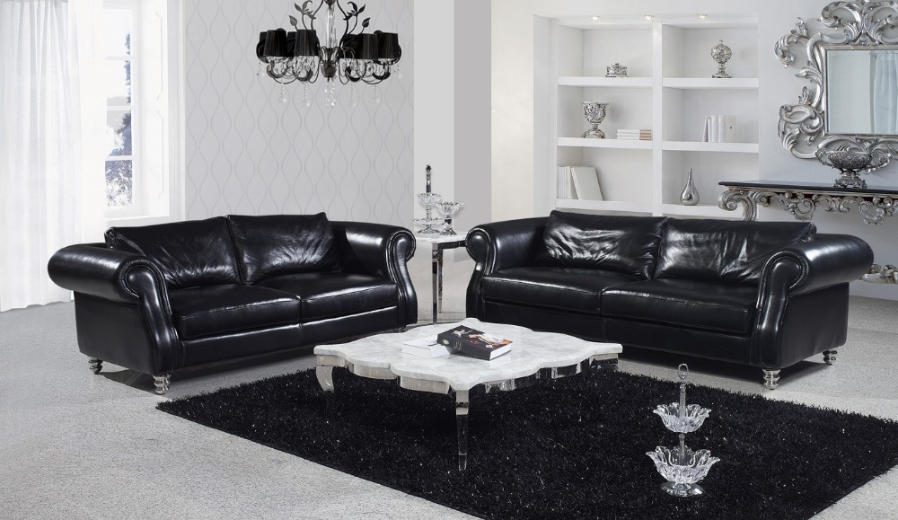 Living room italian leather sofa sf326 leather sofa modern for Furniture 3 rooms for 1999