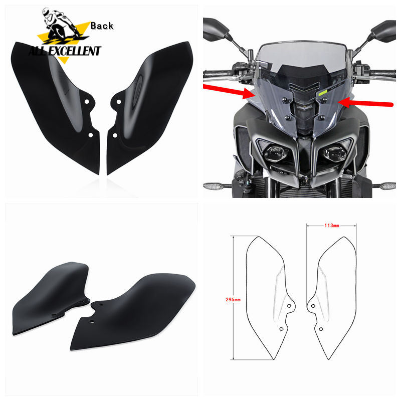 Black Spoiler Screen For <font><b>YAMAHA</b></font> MT10 <font><b>MT</b></font>-<font><b>10</b></font> FZ-<font><b>10</b></font> 2017 2016 Upper Headlight Screen Lens Windshield Protective Cover Side Fairing image