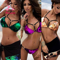 Pacento 3 Colors Shiny Purple Green Gold Bright Sequins Bikini Cross Strappy Bathing Suits Women Large