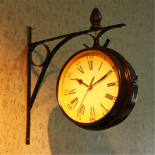 hot deal buy european 3 inch wall clock retro style double-sided wall clocks creative home decoration study bar bar living room wall clocks