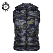 COUTUDI New 2018 Winter Jackets Vest Hoody Camouflage Printed Down Cotton Jacket Coats Short Sleeveless Quality Mens Warm Vests