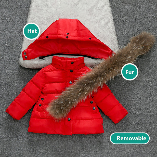 Best Price Winter Thermal Jackets For Baby girls boys Children Toddler Solid Thickening Coat Kids Outerwear Fur Hooded Down Cotton Clothes