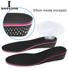 Height increase insoles for women 3/5 cm up invisiable arch support orthopedic shock absorption black color