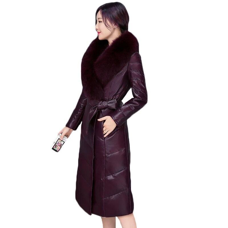 2018 Large size winter jacket women PU leather jacket coat female thicken warm cotton-padded coats Women big collar cotton coat