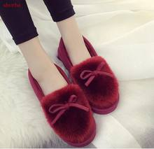 New Women Snow Boots flats Bottom Platform Waterproof Ankle Boots For Women Thick cotton fur Winter Warm Boots(China)