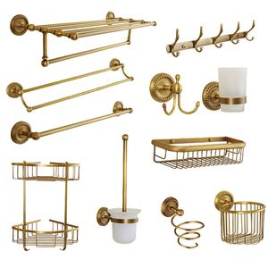 Antique Carved Bathroom Hardware Sets Solid Brass European Bathroom Accessories Set Brushed Bathroom Products (shelf/towel Rack)(China)