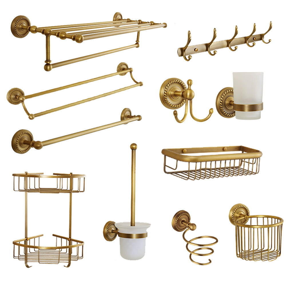 Antique Carved Bathroom Hardware Sets Solid Brass European Bathroom Accessories Set Brushed Bathroom Products (shelf/towel Rack)