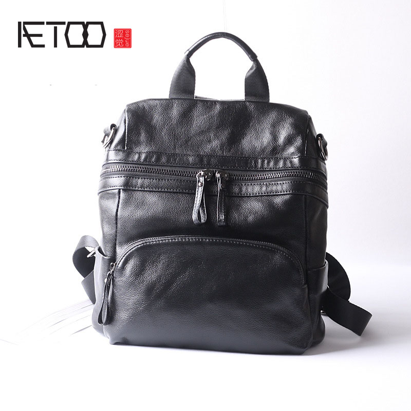 AETOO New couple fashion trend leather shoulder bag female Korean version of the limelight travel backpack mshg alligator skin new female bag korean version of the trend of hand painted handbags european and american fashion middle age